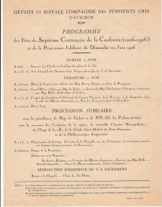 Programme de la procession de 1926